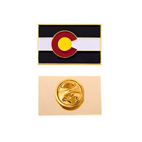 Desert Cactus Colorado State Rectangle Flag Lapel Pin Enamel Made of Metal Souvenir Hat Men Women Patriotic (Rectangle Pin) (Colorado Lapel Pin)