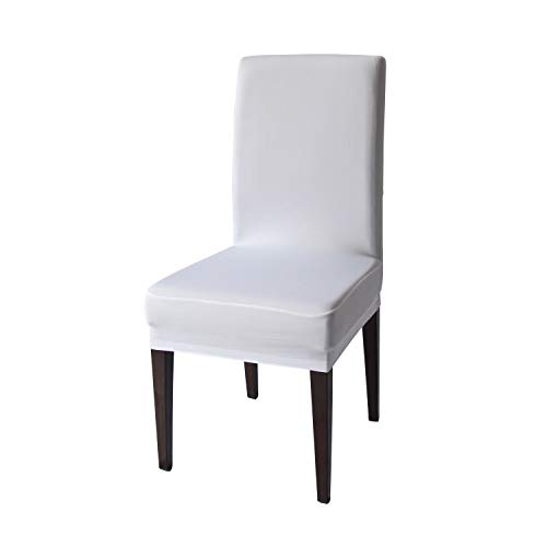 White Spandex Stretch Dining Chair Covers - 4 PCS Knit Removable Washable Dining Chair Slipcovers (White, 4) (Dining Chair Covers White)