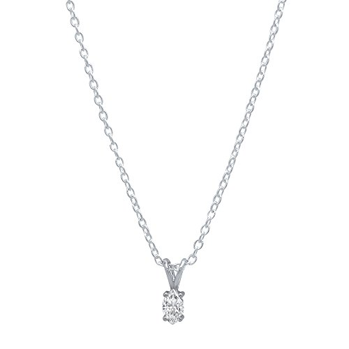 DazzlingRock Collection 0.20 Carat (ctw) 14K White Gold Marquise Diamond Solitaire Pendant 1/5 CT (Silver Chain Included) White Gold Marquise Diamond Solitaire