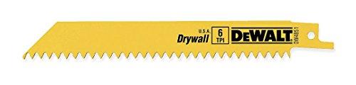 Drywall Sawzall Blade - DEWALT DW4851 6-Inch 6 TPI Plaster Cutting Bi-Metal Reciprocating Saw Blade (5-Pack)