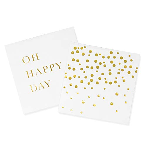 - Sunshine Supply Gold Cocktail Napkins - 3-Ply Paper Party Napkins for Wedding Reception, Baby Shower, Bridal Shower, 5 Inch Gold Napkins (Oh Happy Day and Confetti Dots Set)