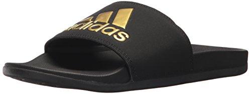 adidas Performance Women's Adilette Comfort Sport Sandal, Gold Met, black/gold metallic/black, Core Black, 11 M US