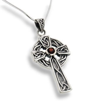 Amazon large celtic knot sun cross pendant with garnet 18 large celtic knot sun cross pendant with garnet 18quot snake sterling silver necklace aloadofball Choice Image