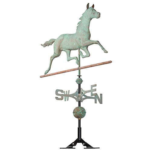 Whitehall Products 54-Inch High Verdigris Copper Horse Weathervane