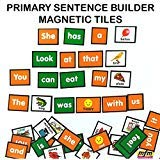MFM TOYS Primary Sentence Builder Kit English Language 101 Magnetic Tiles (Ages 4+) (Does Not Include Magnetic Board)