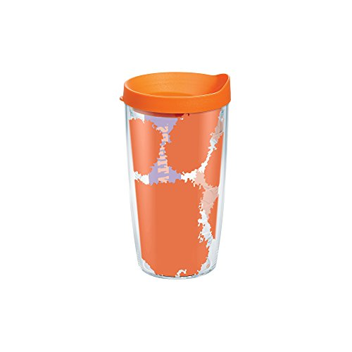 Tervis 1095185 Clemson Tigers Colossal Tumbler with Wrap and Orange Lid 16oz, Clear