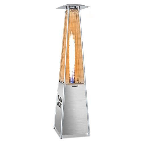 Giantex Outdoor Propane Patio Heaters Pyramid Style w/Dancing Flame, Quartz Glass Tube in Hammered Freestanding, Stainless Steel Silver -