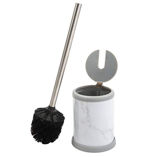 (Bath Bliss Self Closing Lid Holder in Marble Toilet Brush,)