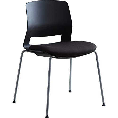 Lorell LLR42948 Arctic Series Stack Chair Black/Silver