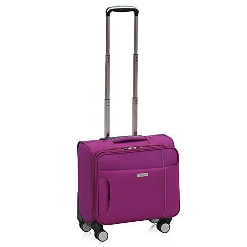 (Super Lightweight Travel Carry on Cabin Hand Luggage Suitcase with 4 Wheels, Laptop Compartment Trolley Bag(20-35L)-Purple,362036cm(14in))