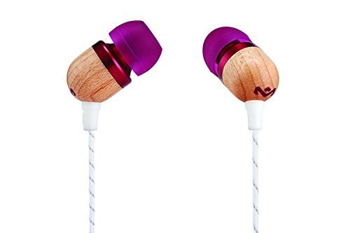 House of Marley, Smile Jamaica Wired In-Ear Headphones - In-line Microphone with 1-Button Remote, Noise Isolating, Durable, Tangle Free Cable, EM-JE041-PU Purple