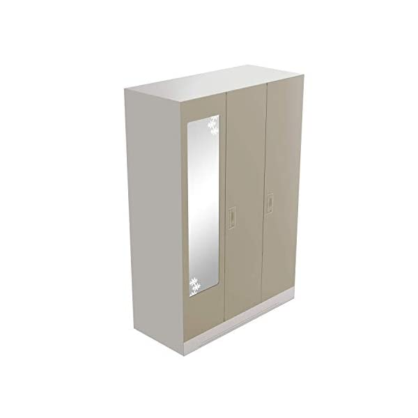 GODREJ INTERIO Slimline 3 Door Steel Almirah with Locker, Drawer, Star Mirror (Royal Ivory, Glossy Finish) 2021 July Dimensions W x H x D (cm): 134.9 x 195 x 50.7 / Primary Material: Mild Steel / Delivery Condition :Knock Down / Free Assembly Provided Sleek Design:The furniture with which you furnish your home reflects your style and sensibilities. The sleek Slimline Wardrobe adds style points to your bedroom. Durable CRCA Steel Construct :CRCA Steel has stood the test of time and durability. This is why the Slimline Wardrobe excels in both, giving a piece that is strong and long-lasting.