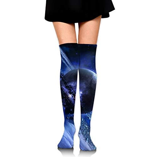 (Hateone Long Socks Blue Planet Creative Style Knee-High Tube Thigh-High Sock Stockings for Girls & Womens)
