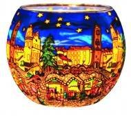 Kerzenfarm Christmas Market 21804 Glowing Glass Tealight-Holder, Multi-Colour