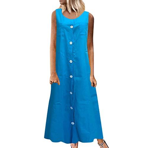 TANGSen Womens Long Sleeve Dress Summer Solid Color Loose Sundress Fashion Button V-Neck Button Beach Dress