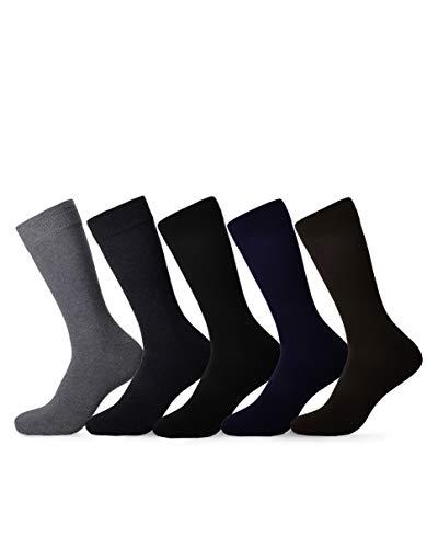 Solid Dress Socks - Mens Dress Socks 5 Pack Cotton Argyle Dress Socks Assorted Colors -5 Pair (10-13, Solids)