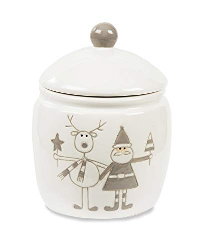 Pavilion Gift Company Holiday Hoopla Santa and Reindeer Ceramic Christmas Jar, 6
