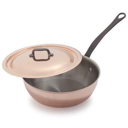 Mauviel Copper Saucier - Mauviel 6612.25 Copper Cookware Jacques Pepin Collection Sauteuse with lid, 3.7 qt,