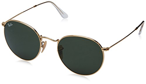 Ray-Ban Metal Round Sunglasses, Arista, 53 - Gold Rayban