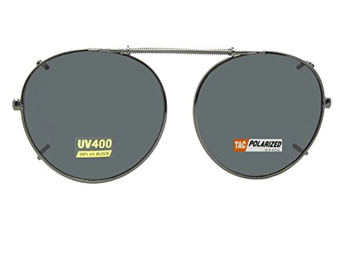 Semi Round Polarized Clip On Sunglasses (Pewter-Polarized Gray Lens, 50mm Wide x 47mm - 50mm Round