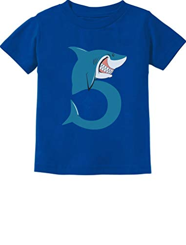 TeeStars - 5th Birthday Shark Party Gift for Five Year Old Toddler Kids T-Shirt 5/6 Blue ()