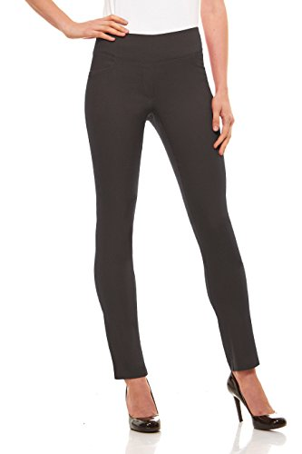 Velucci Womens Straight Leg Dress Pants - Stretch Slim Fit Pull On Style, Charcoal-M