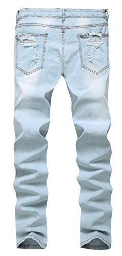 GARMOY Men's Fashion Light Blue Ripped Destroyed Flower Embroidered Skinny Fit Jeans Blue 32 by GARMOY (Image #1)