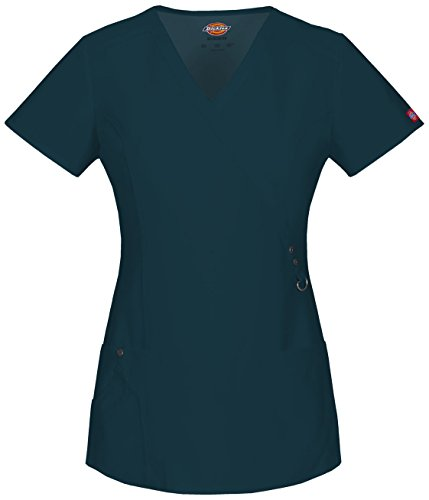 Dickies Xtreme Stretch Women's Mock Wrap Solid Scrub Top Small ICY Turquoise