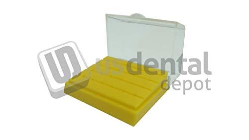 SHARK - Teflon FG Burs Block 24 Holes Yellow with Crystal Clear Lid 1pk # 386 [ bur Holders ] (China) 116157
