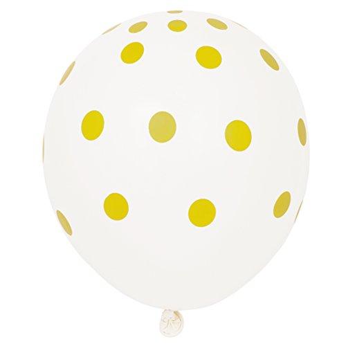 """Latex Polka Dot Balloons, 12"""", Gold, 6 Count"""