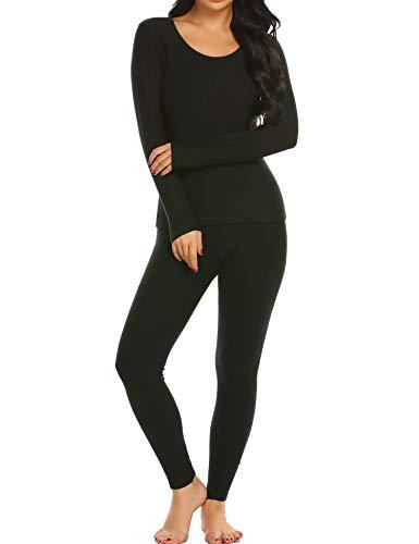 (Ekouaer Long Thermal Underwear Fleece Lined Winter Base Layering Set for Women, Fleece-black, Medium)