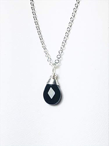 (Black Spinel Solitaire Necklace.925 Sterling Silver Petite Briolette Dainty Pendant Length)