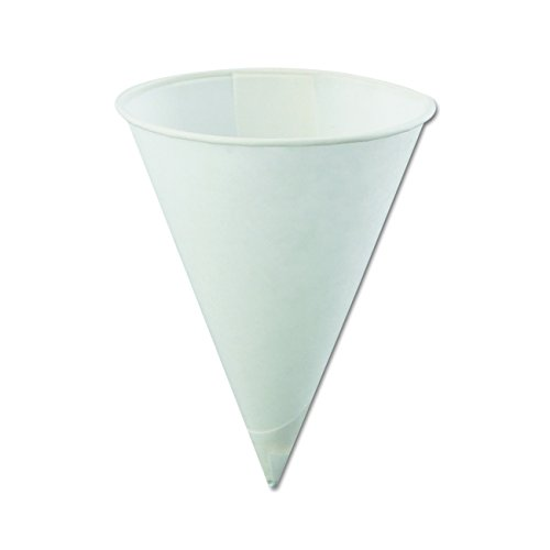 Konie KCI 4.0KBR Poly-Bag Rolled-Rim Cone Cup, 4 oz. Volume, Paper, White (Pack of 5000)