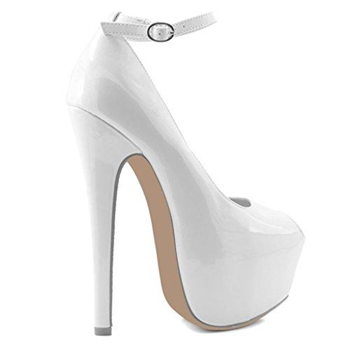 Mavirs Womens Sexy Peep Toe Stiletto Tacchi Alti Slip On Platform Pumps Taglie Forti Abito Da Sposa Scarpe Bianche Brevetto
