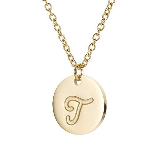 MMTTAO Initial Necklace 18K Gold Filled Disc Letter Alphabet Monogram Necklaces for Women Girls Stainless Steel Personalized Pendant Necklace - Letter -