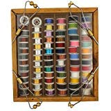 Upstream Essentials Fly Tying Thread, Floss, Tinsel, Wool, Copper & Lead Wire Assortment 72 Rolls w/Wood Case & 4 Bonus Bobbins