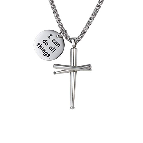 WMISIY 18-24 Inches Baseball Cross Necklace for Boys Men Chain Stainless Steel Baseball Bat Pendant Silver (I can do All Things, 20) -