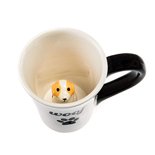 Ceramic Dog Animal Coffee Cups - Woof Cute Mug with a Surprise Inside Dog Paw for Coffee, Tea and Beverages - Premium-Quality, Dishwasher Safe Materials - Ideal Gift, 7 Ounce by Goodscious (Mugs Tea Cool)