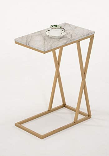 Gold and White Marble Look Finish Snack Side End Table