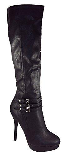 Wild Diva Women Knee High Heel Buckled Boots Black Platform Zipper SONNY-204 Black 5.5