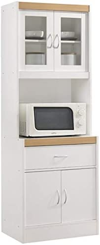 """Pemberly Row Tall 24"""" Wide China Kitchen Cabinet with Microwave Storage in White"""