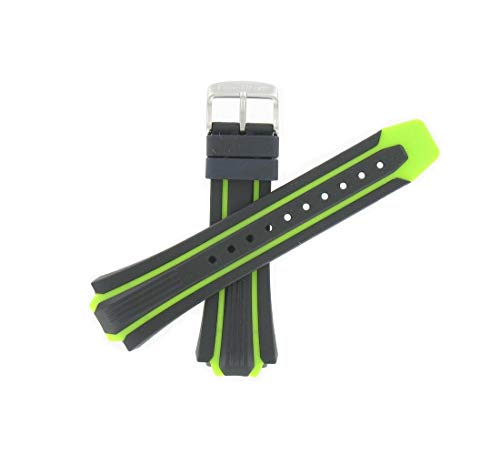 Citizen 59-S52501 59-S52813 Original Replacement Black / Green Rubber Watch Band fits BN0090-01E S080100 ()