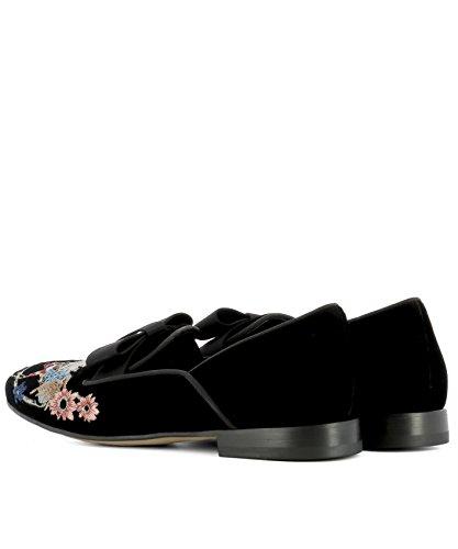 ETRO Women's 1345729231 Black Velvet Loafers hLICyIq