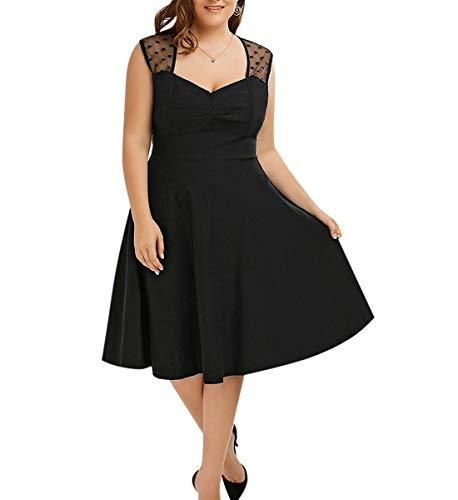 - Women's Vintage Mesh Trim Plus Size Sweetheart Neck Decolletage Sleeveless Pleated Swing Party Sundress (Black, 20W)