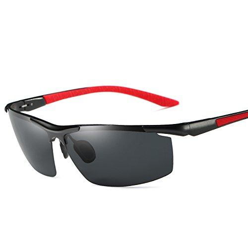 9 gafas colores Black Mens Red Guía estilo de sin sol polarizadas macho negro aluminio Gafas TIANLIANG04 UV400 polarizadas de reborde gafas gafas de gwHHUqP