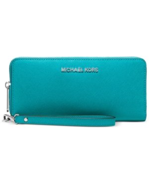 Michael Kors Jet Set Travel Continental Wallet Tile Blue Leather New