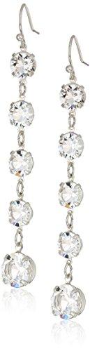 1928 Jewelry Silver-Tone Genuine Swarovski Elements Linear Drop Earrings