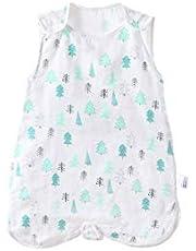 YATime 100% Organic Cotton Unisex Baby Wearable Blanket Sleeveless Muslin Sleeping Bag and Sack(Tree, L,6-12month)
