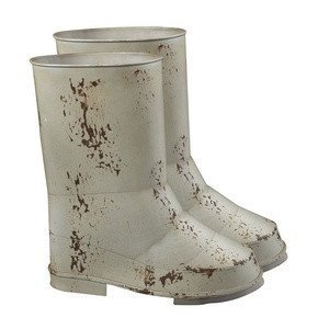 Sterling Industries 128-1019/S2 Set of 2 Boot Planters, Distressed Country Cream by Sterling Industries