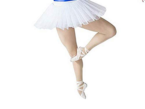 (WENDYWU Women Professional Swan Ballet Tutu Dress Hard Organdy Platter Performance Leotard Skirt (XL, White))